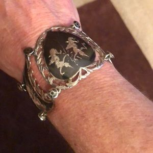 Jewelry - Antique Sterling and black bracelet made in Siam